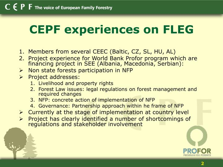 CEPF experiences on FLEG