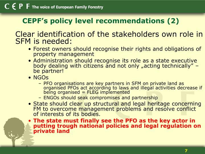 CEPF's policy level recommendations