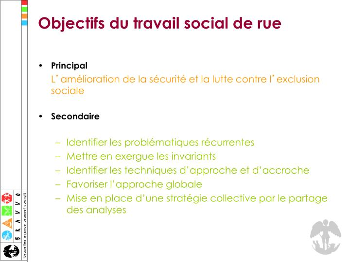 Objectifs du travail social de rue