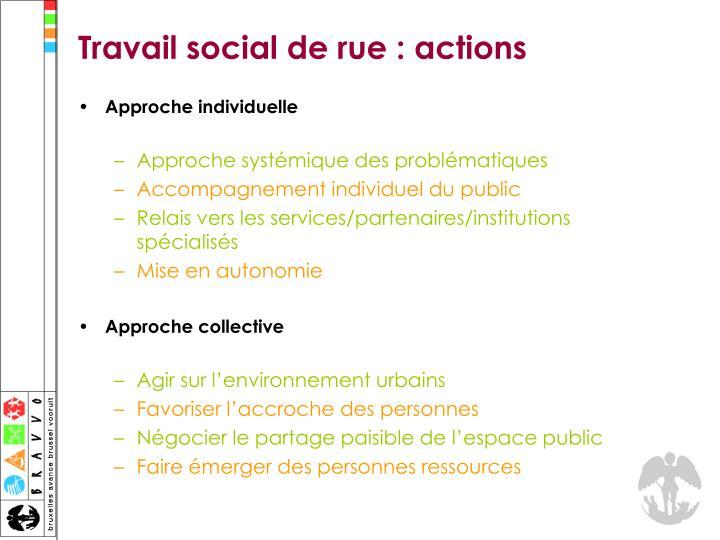 Travail social de rue : actions