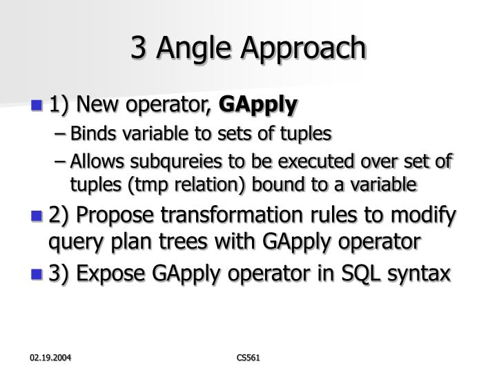 3 Angle Approach