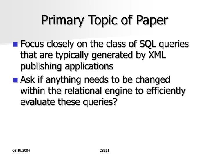 Primary Topic of Paper
