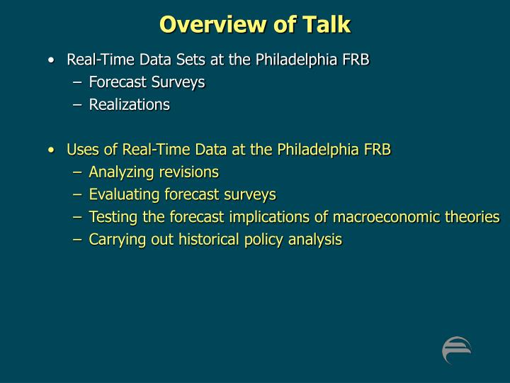 Overview of Talk