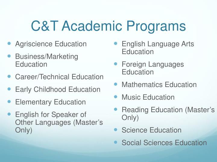 C&T Academic Programs