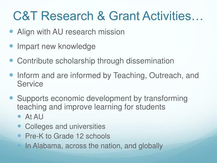 C&T Research & Grant Activities…