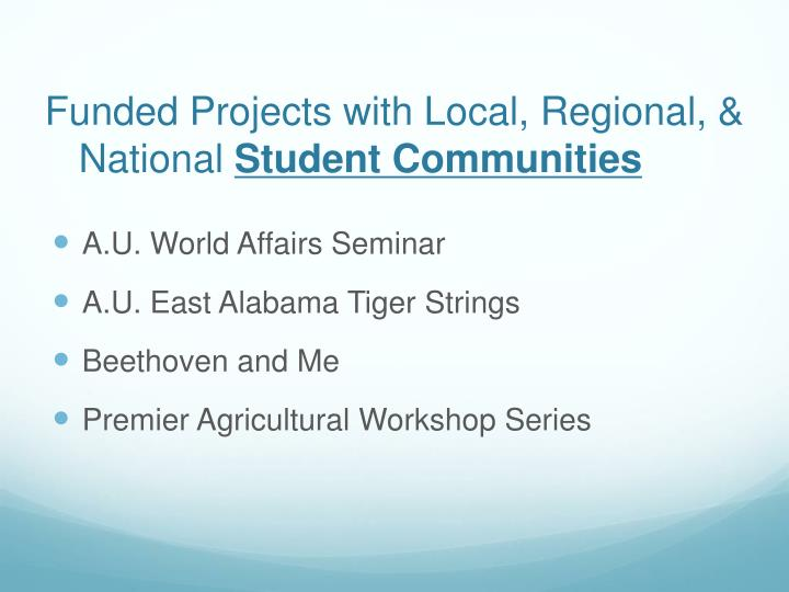 Funded Projects with Local, Regional, & National