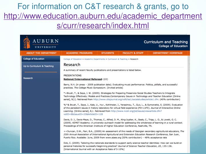 For information on C&T research & grants, go to