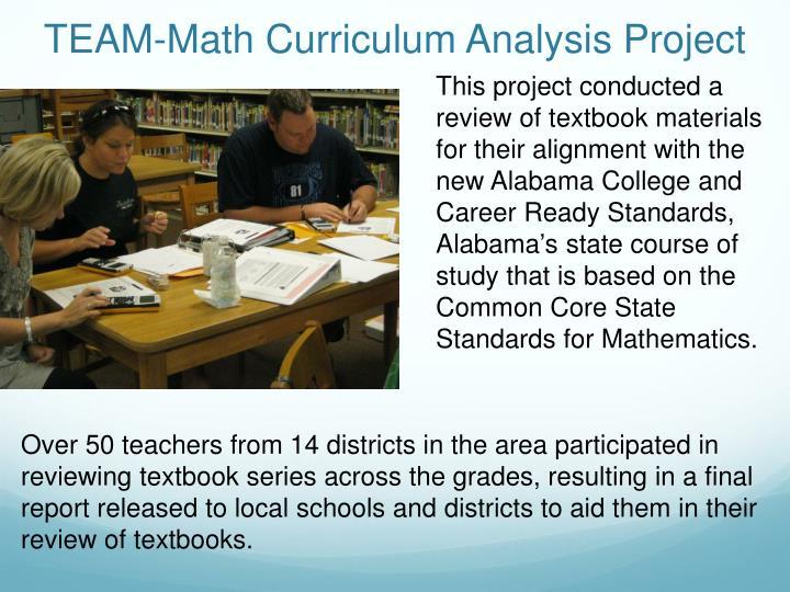 TEAM-Math Curriculum Analysis Project