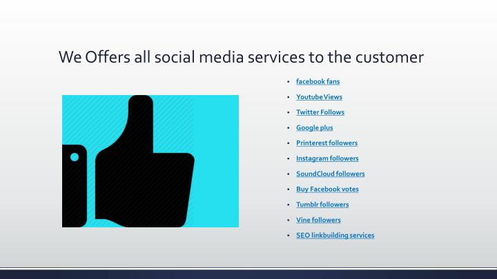 We offers all social media services to the customer