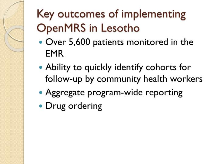 Key outcomes of implementing