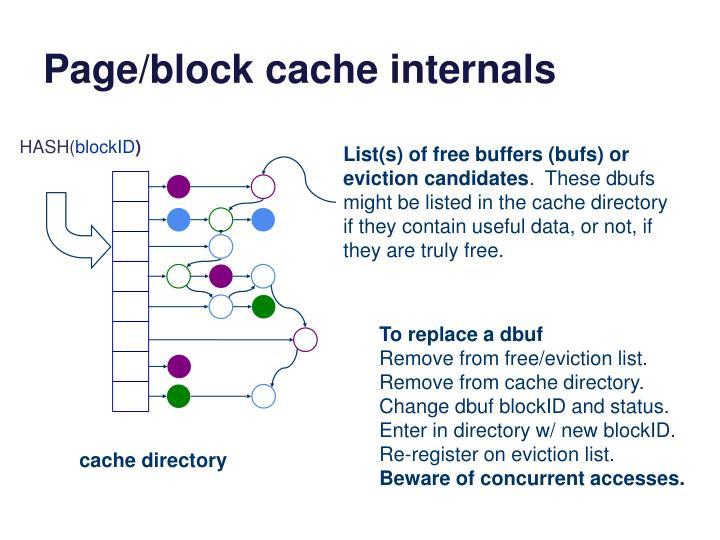 Page/block cache internals