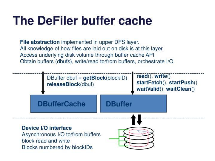 The DeFiler buffer cache