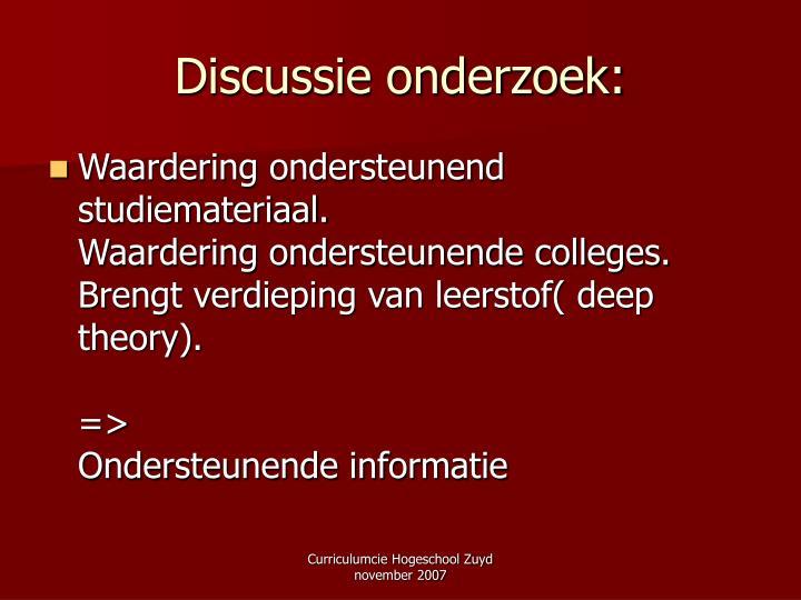 Discussie onderzoek: