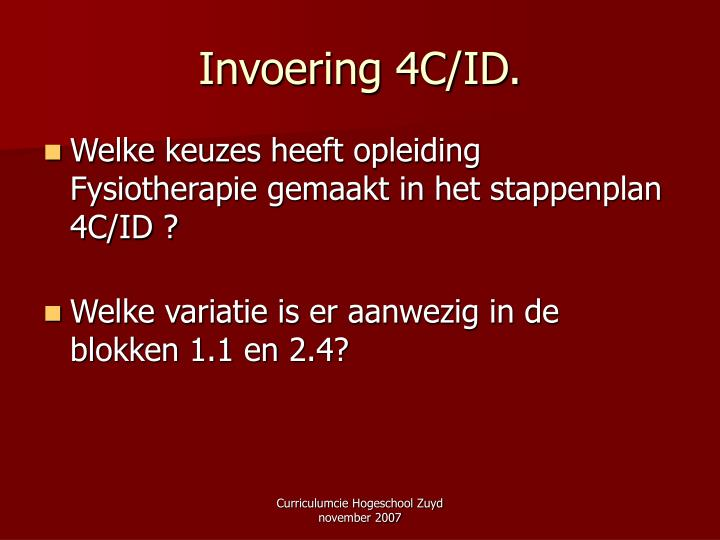Invoering 4C/ID.