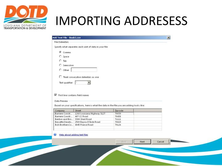 IMPORTING ADDRESESS