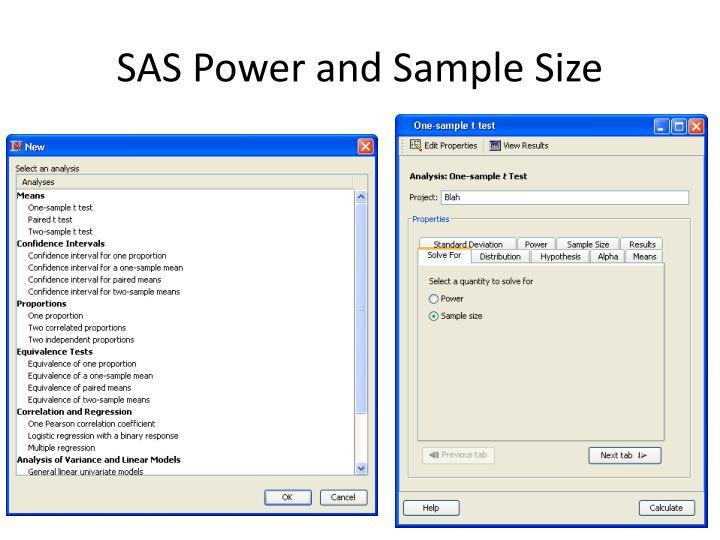 SAS Power and Sample Size