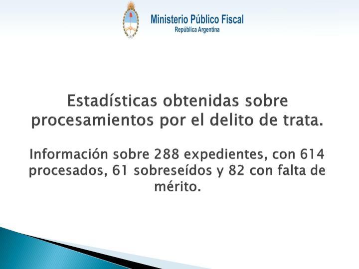 Estadísticas obtenidas sobre procesamientos por el delito de trata.