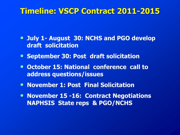 Timeline: VSCP Contract 2011-2015