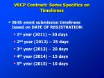 vscp contract some specifics on timeliness