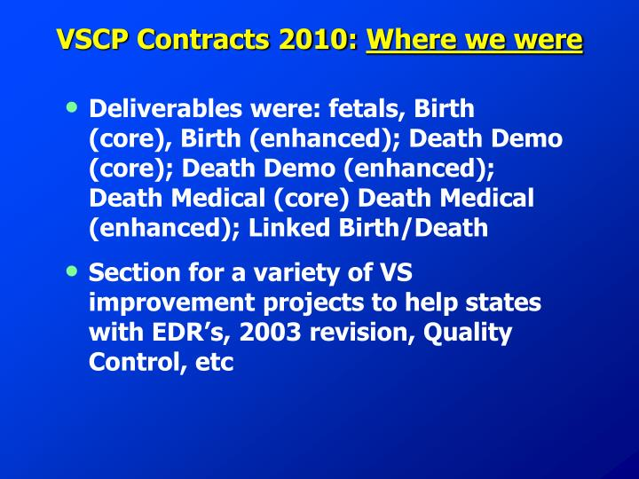 VSCP Contracts 2010: