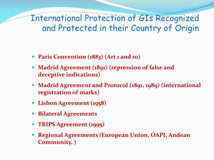 International Protection of GIs Recognized and Protected in their Country of Origin