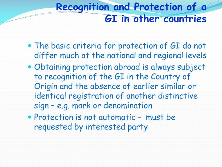 Recognition and Protection of a