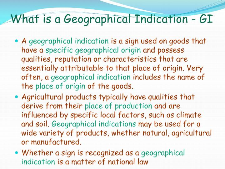 What is a Geographical Indication - GI