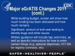 major egratis changes 2011 cont