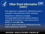 other grant information cont