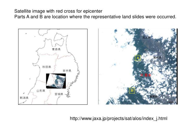 Satellite image with red cross for epicenter