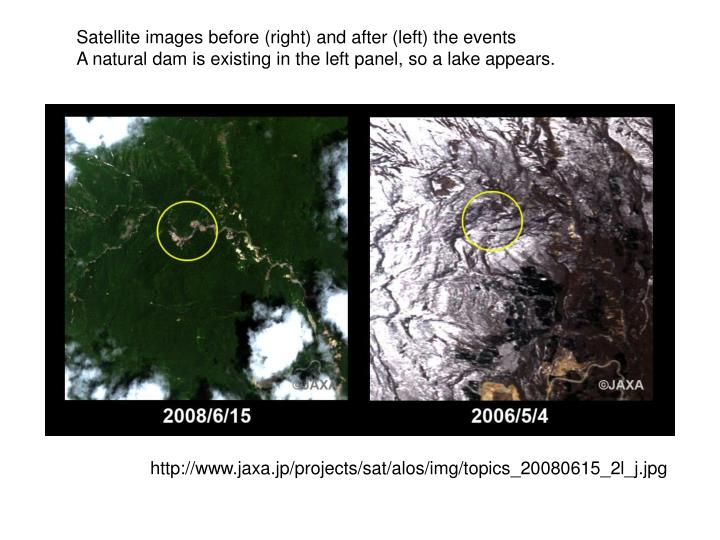 Satellite images before (right) and after (left) the events