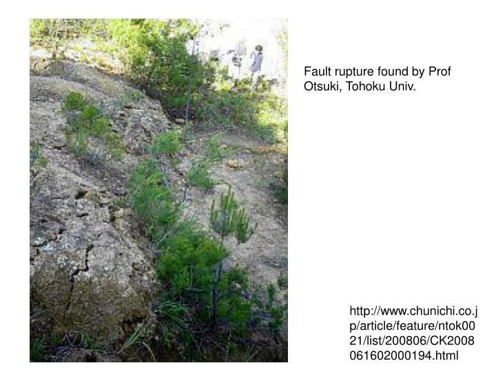 Fault rupture found by Prof Otsuki, Tohoku Univ.