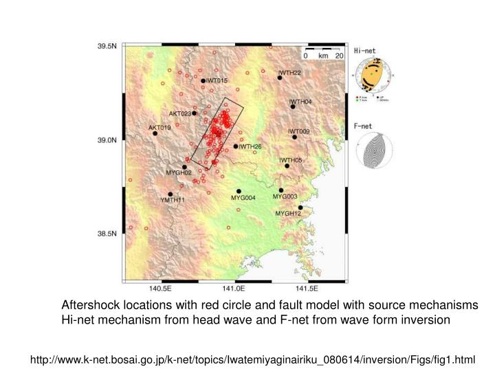 Aftershock locations with red circle and fault model with source mechanisms