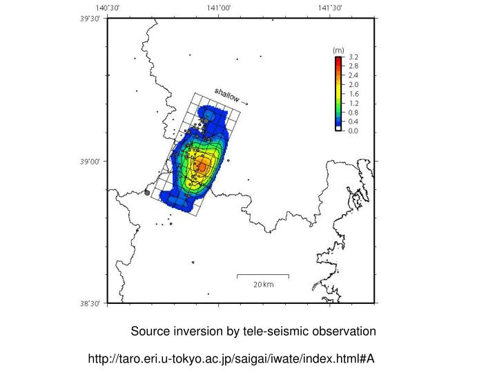 Source inversion by tele-seismic observation