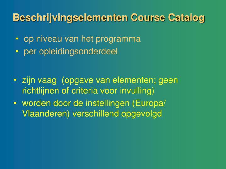 Beschrijvingselementen Course Catalog