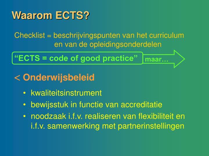 Waarom ECTS?