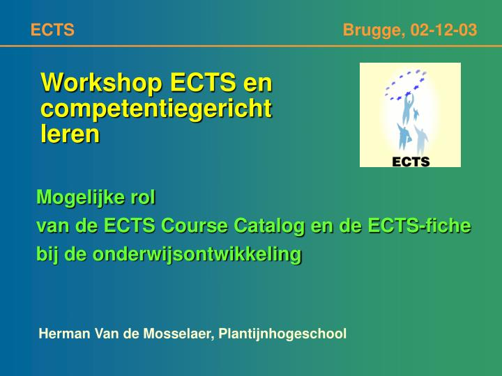Workshop ECTS en
