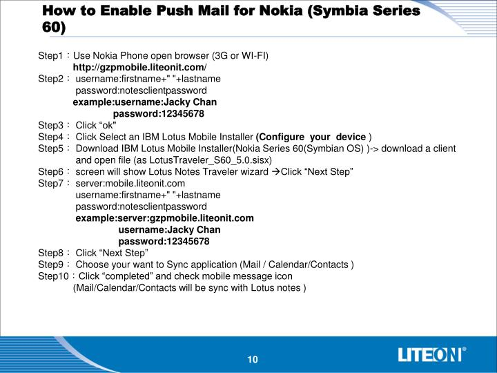 How to Enable Push Mail for Nokia (Symbia Series 60)