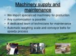 machinery supply and maintenance