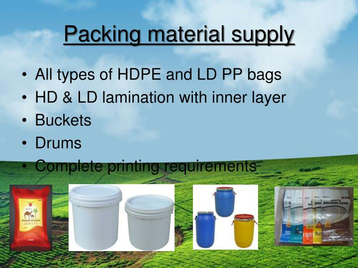 Packing material supply