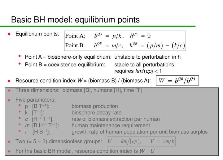 Basic BH model: equilibrium points