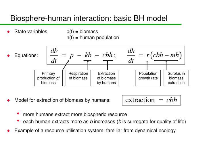 Biosphere-human interaction: basic BH model