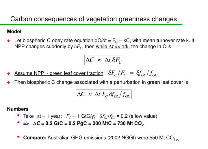 Carbon consequences of vegetation greenness changes