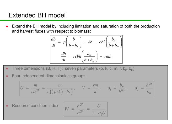 Extended BH model