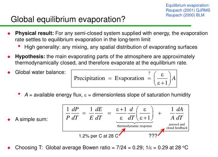 Global equilibrium evaporation?