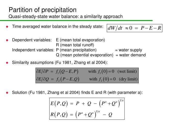 Partition of precipitation