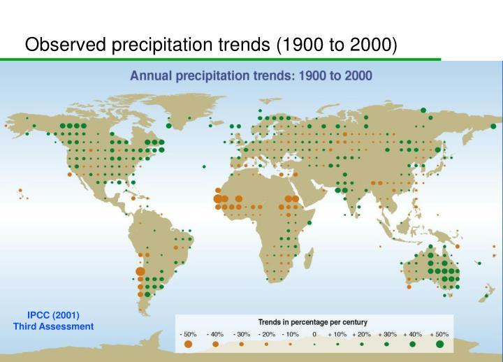 Observed precipitation trends (1900 to 2000)