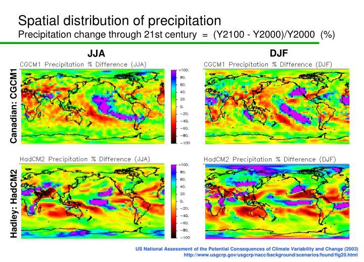 Spatial distribution of precipitation