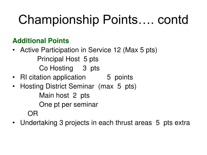Championship Points…. contd