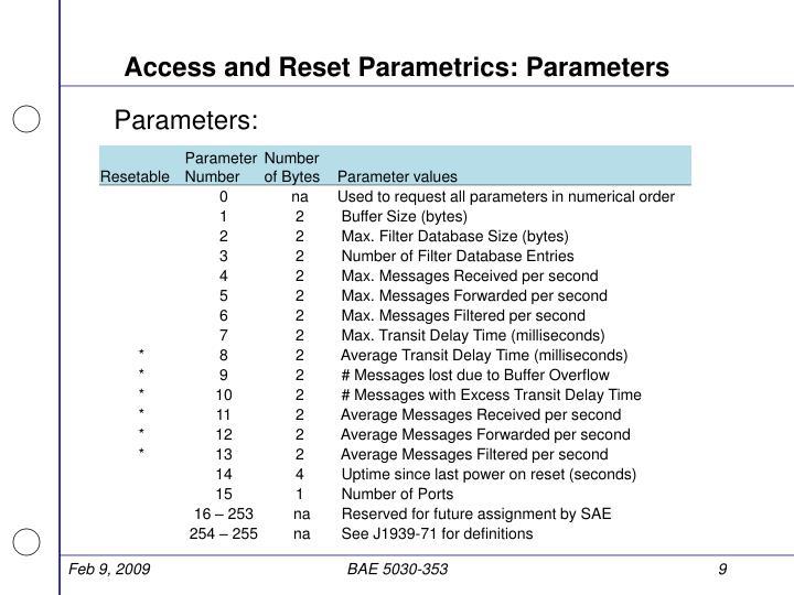 Access and Reset Parametrics: Parameters